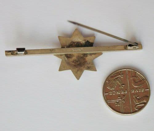 Vintage Coldstream Guards sweetheart brooch silver and enamel Garter Star WW2